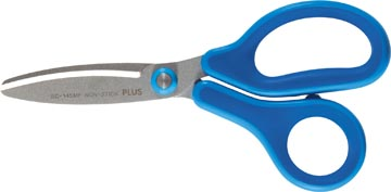 Plus FitCut Curve KIDS schaar, fluorine bladen, 14,5 cm, blauw, op blister