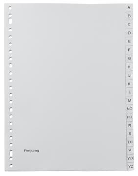 Pergamy tabbladen, ft A4, 23-gaatsperforatie, grijze PP, A-Z