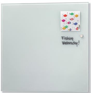 Naga magnetisch glasbord, wit, ft 35 x 35 cm