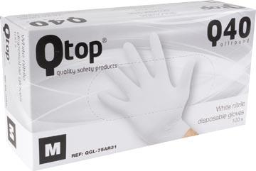 Handschoenen uit nitril, medium, wit, doos van 100 stuks